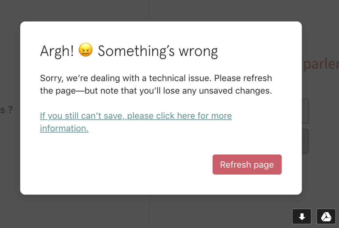 Typeform error message