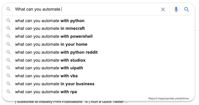 What can you automate search Google