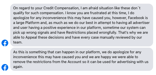 You can't get any compensation from Facebook. Deal with it.