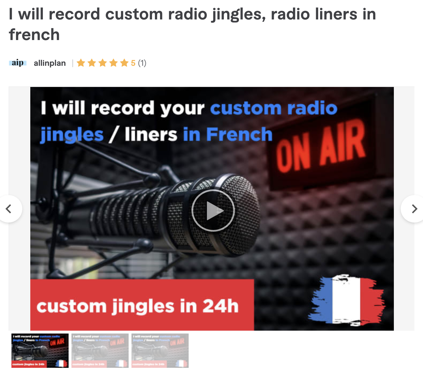 Radio jingles and liners in French, on Fiverr