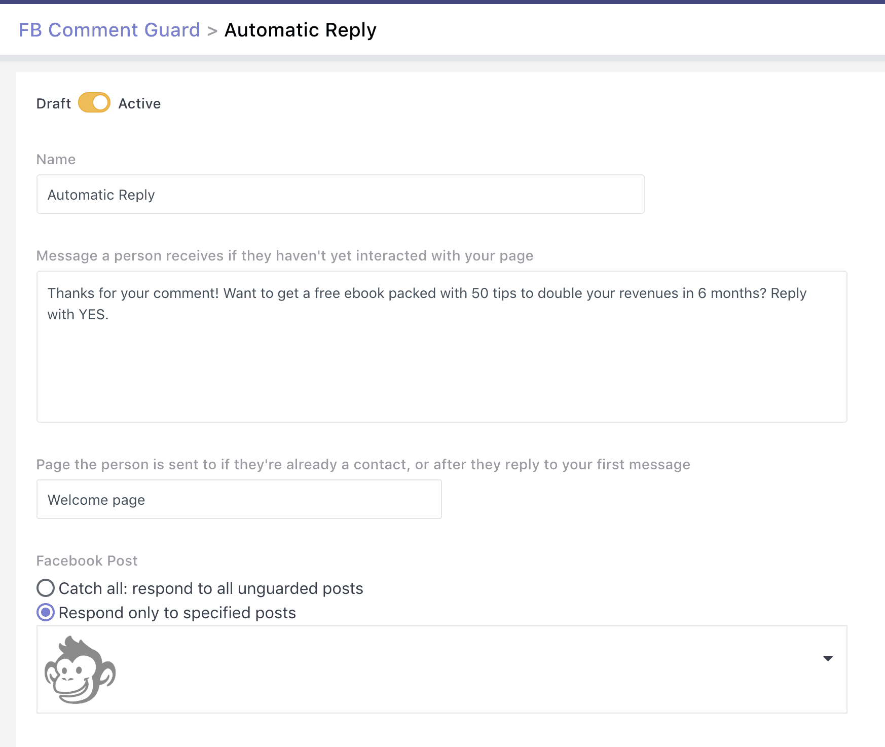 automatic reply to facebook comments on a page