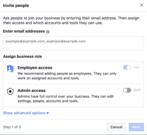 facebook advertising account business manager