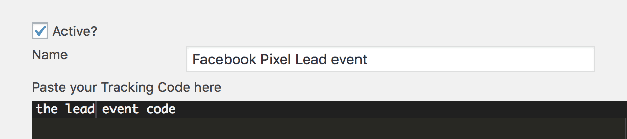 add lead tracking event facebook pixel
