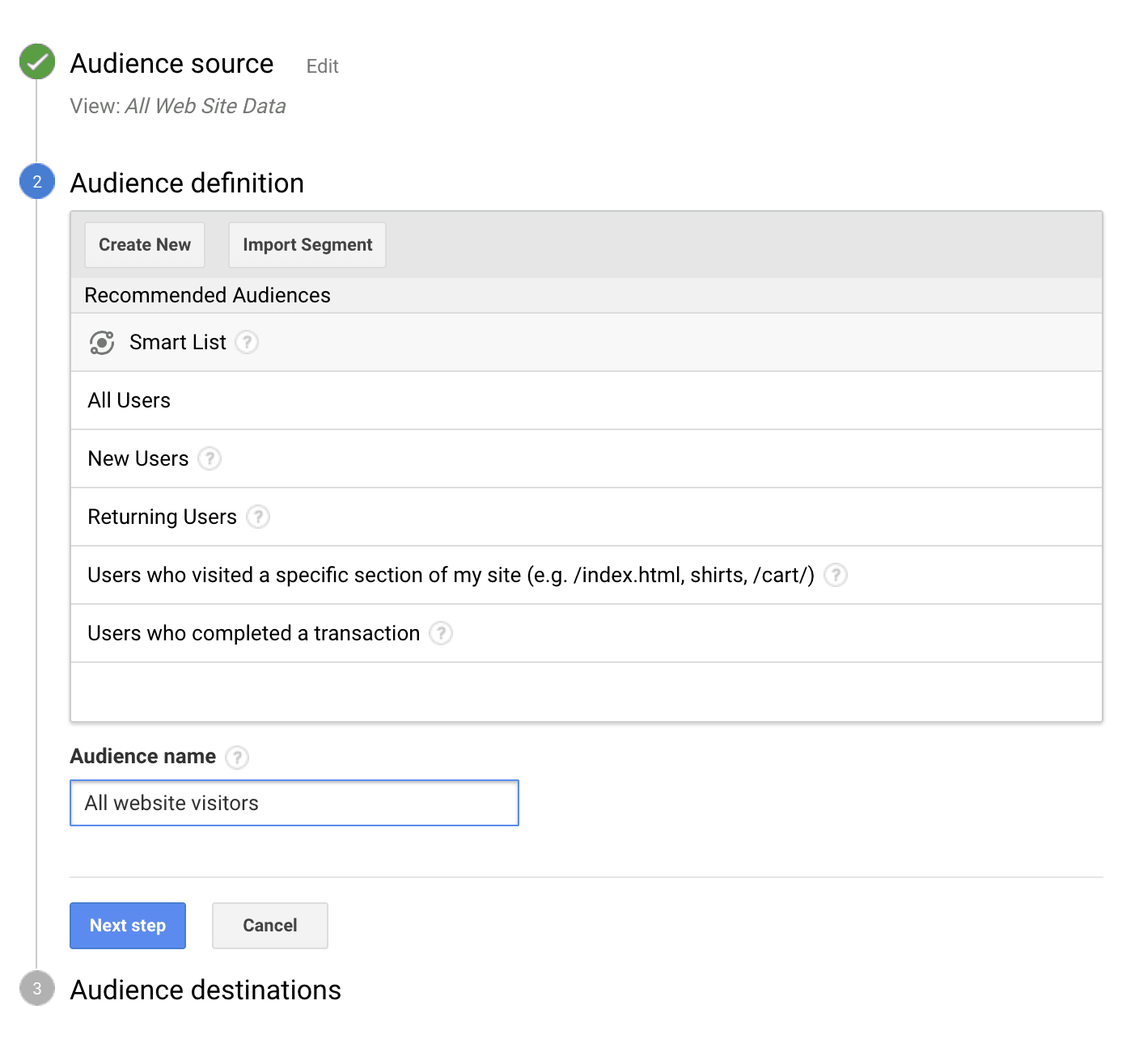 create a custom audience with Google Analytics for Adwords