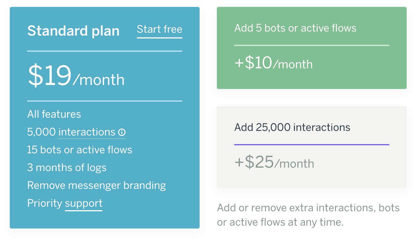 messenger chatbot platforms pricing flowxo