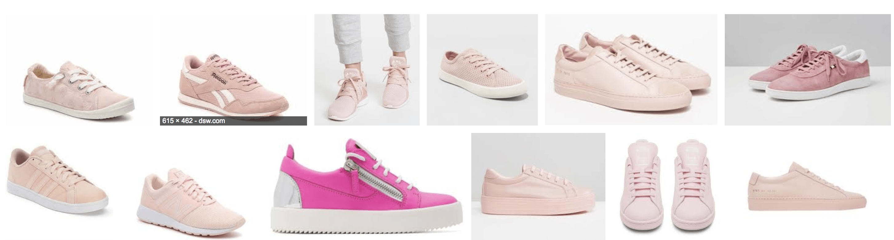 correlations between search terms pink color sneakers