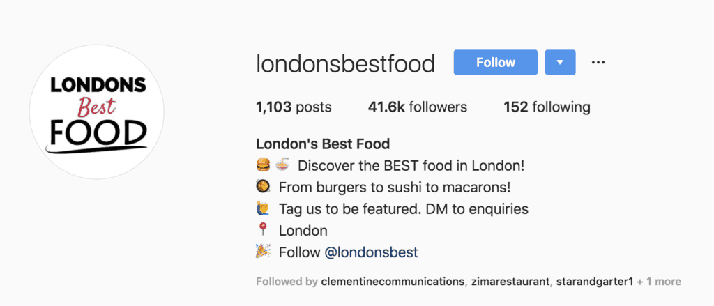 instagram influencers with at least 1000 followers in London