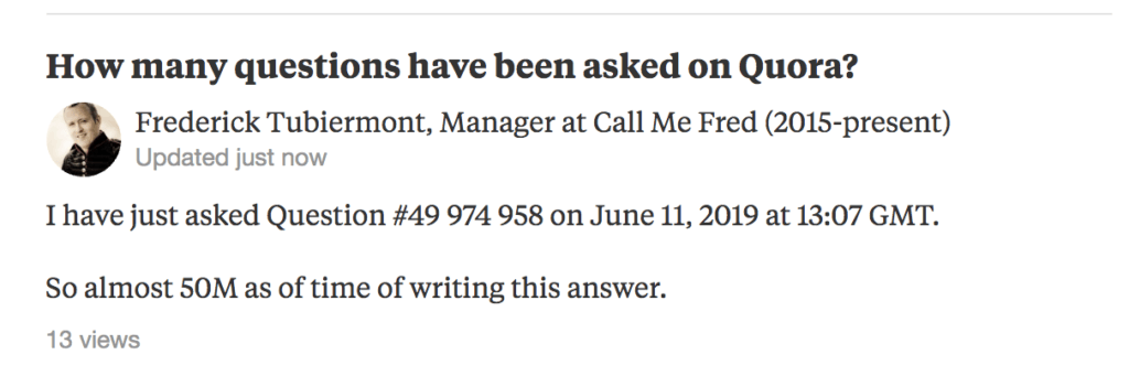 how many questions asked on quora