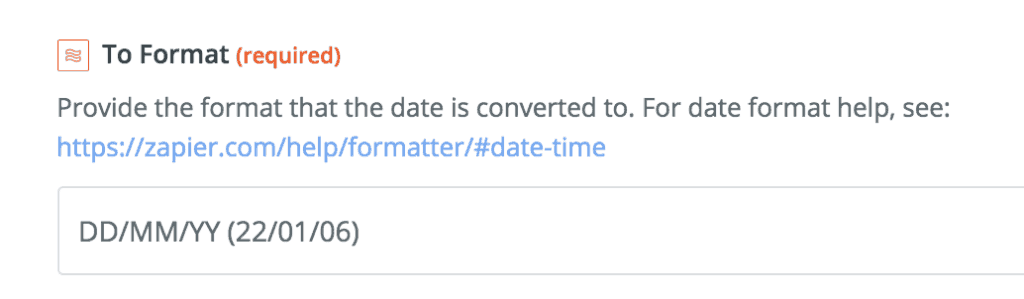 date format conversion zapier pipedrive