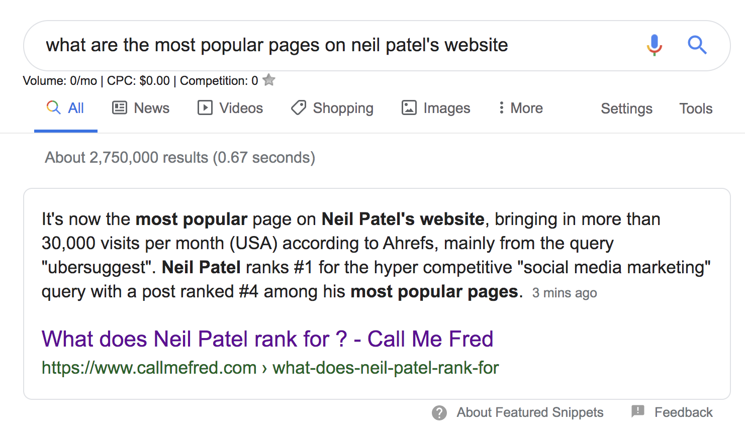 neil patel most popular pages