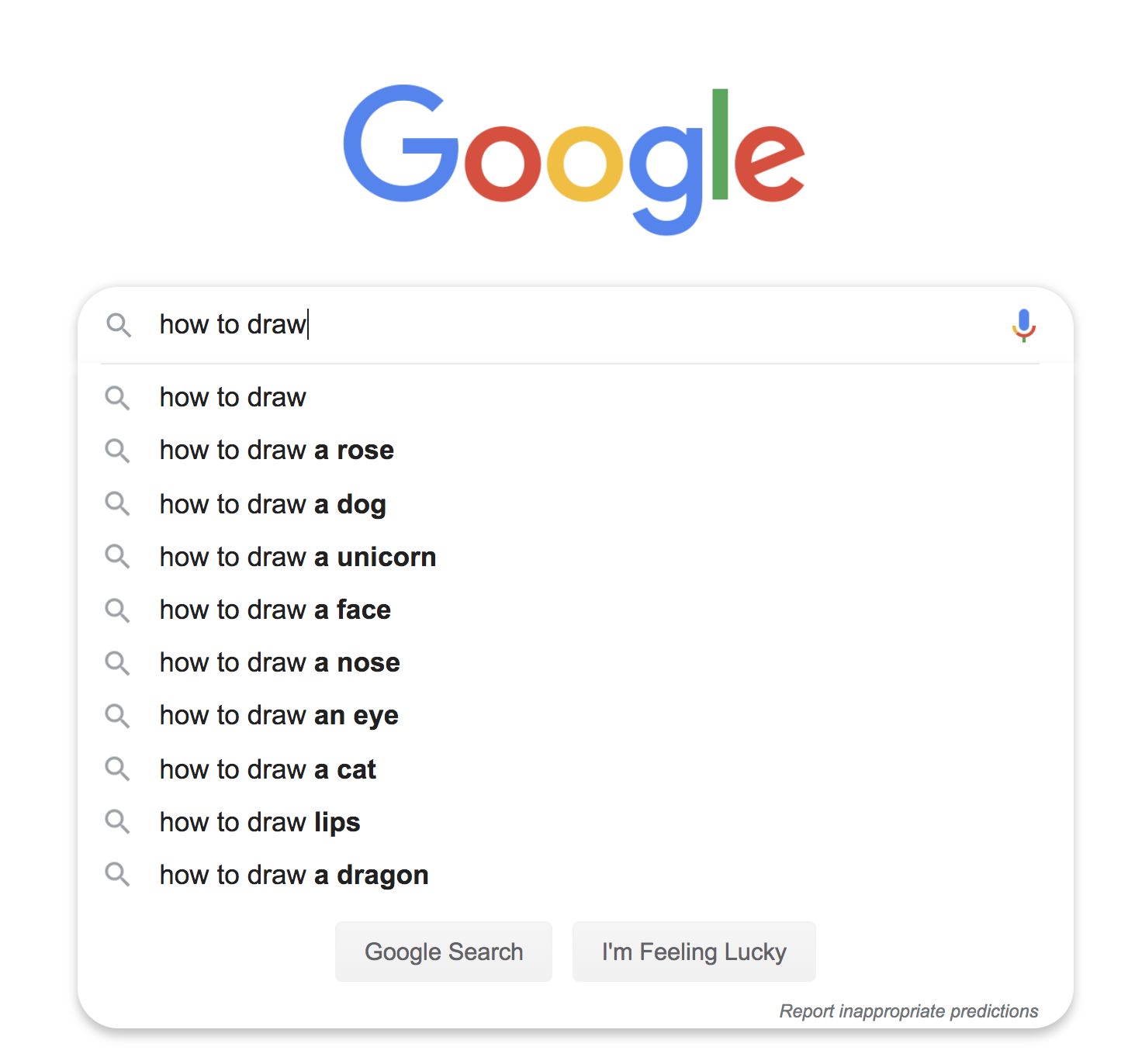 How to draw Google suggestions SEO